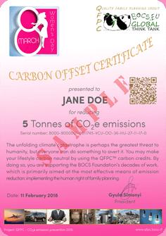 Nőnap! | Carbon Offset Tanúsítvány Minta | BOCS Alapítvány